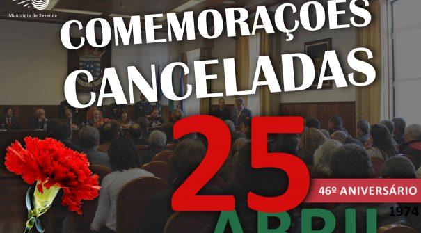 Comemorações do 25 de abril canceladas
